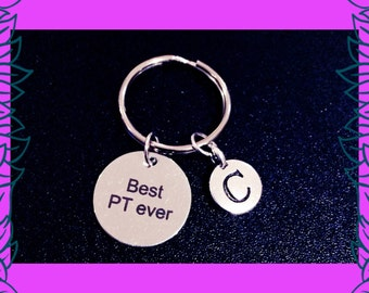 Personal trainer gift, fitness trainer gift idea, best PT ever key ring, personalised gym fitness charm gift, custom letter charm UK