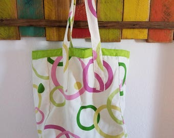 Green and Pink Canvas Reversible Tote/Grocery Bag; Green and pink Everyday Tote/Bag; Tote; Green Tote; Washable