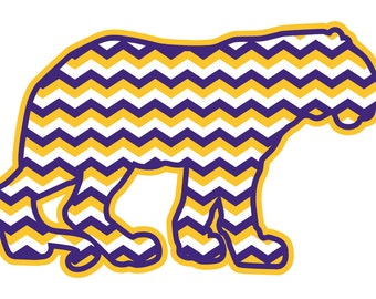 Chevron Tiger Car Decal (LSU Colors)