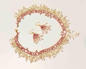 Pink and Rose Blush Beaded Coraling Necklace Handmade With Gold and Lucite