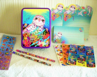 LISA FRANK Rainbow Reef Seal pup vintage collectors tin with stickers stationery pencil box