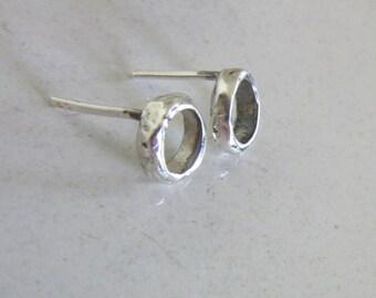 SPRINGSALE - Small Silver stud earrings - Rustic style earrings