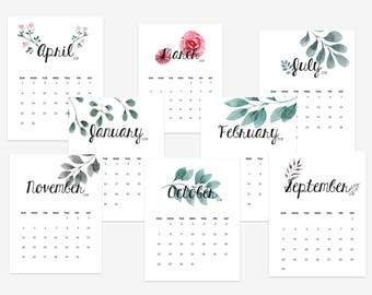 printable wall 2018 calendar with hand painted watercolor flowers housewarming floral calendar printable office calendar instant