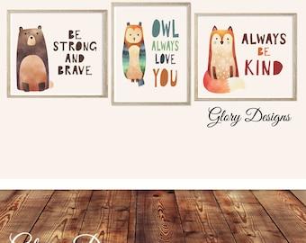 Printable, Set of 3, Woodland animal printable quotes, childrens room decor, playroom printables, inspirational quotes