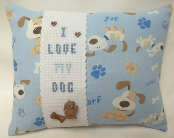 Dog Mini Pillow Cross Stitch I Love My Dog Shelf Pillow, Pet Pillow