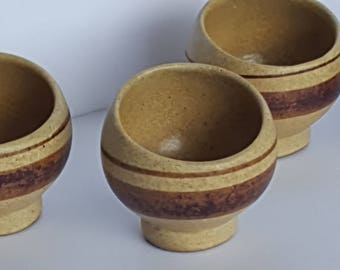 Asian Clay Pottery Tea Cups Planters Asymmetrical Shape set of 4