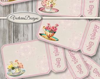 Tea Tickets printable Tickets pink tea cup flowers scrapbooking paper crafting printables instant download digital sheet - VDTIVI1517