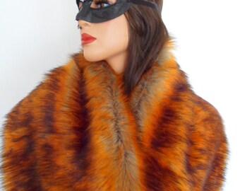 fox fur stole, burnt orange fur, faux fur shawl, fake fur shrug, collar, amber fur