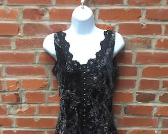 Vintage 90s Black Velvet Bustier Corset Top Lace Trim Womens