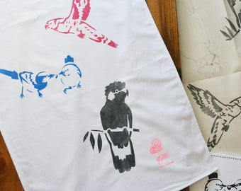 Three Birds Cotton Tea Kitchen Towel Screen printed Rainbow Lorikeet, Black Cockatoo, Splendid Blue Wrens, Australian Birds. Limited Edition