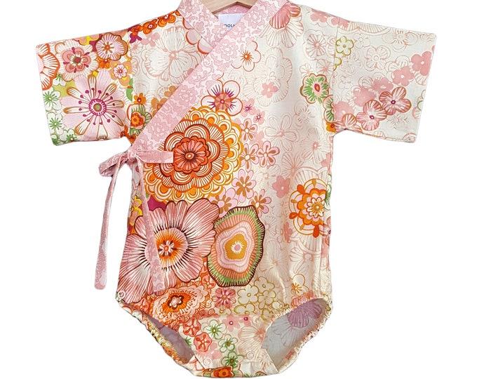 Baby Kimono Bodysuit - Japanese Garden- Baby Romper - Asian baby clothes japanese jinbei