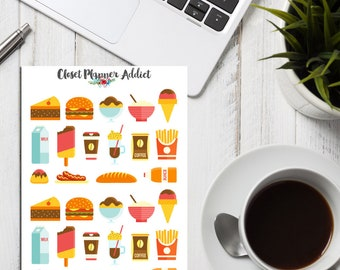 Fast Food Planner Stickers | Fast Food Stickers | Snack Stickers | Food Stickers | Cheat Food Stickers | Burger Stickers (S-008)