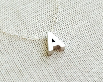 Initial Necklace, Silver Letter Charm Necklace, Personalize Jewelry, Bridesmaid Gift, Birthday Gift, Valentine's Gift, ALL LETTERS