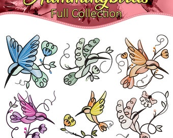 Machine Embroidery Designs  - Hummingbirds Collection of 6
