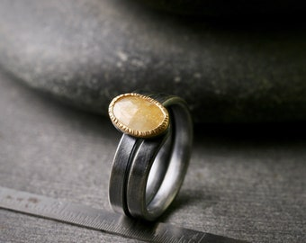 Rose cut hammered bezel set yellow sapphire in 18k yellow gold and oxidized sterling silver ring