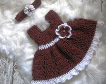 Burgundy Crochet Baby Girl Dress Christmas Baby Dress  Baby Dress Set Baby Girl Dress Set Baby Knit Dress and Headband Red Baby Girl Dress