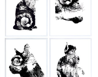 Screen print called CATS Limited edition artwork. Handmade - lucky - nature - animal