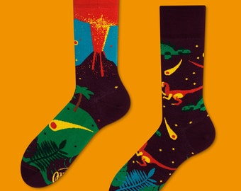The Dinosaur socks | men socks | colorful socks | cool socks | mismatched | womens socks | unique socks | patterned socks | animal socks |