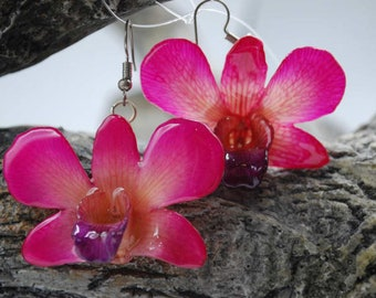 Mini Dendrobium Orchid Earring  - Orchid Earrings - Pink Earrings - Flower Earrings - Floral Earrings - Statement Earrings
