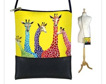 Clara Nilles Sling bag, mini crossbody bag, small shoulder bag purse fits iPhone 6 Plus Case, giraffe yellow RTS