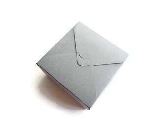 Small gray box / square box / jewelry box / small treat box / wedding favors box / gift box / solid gray / Set of 12
