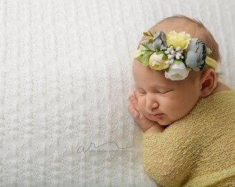 Fields of Grace - darling floral crown tieback in yellow, buttercream, grey, dusty steel blue, sage green and ivory cream  (RTS)