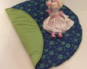 One only - Blue and green flower baby play mat