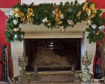 Christmas Fireplace Wreath with Angels, Gold and Silver