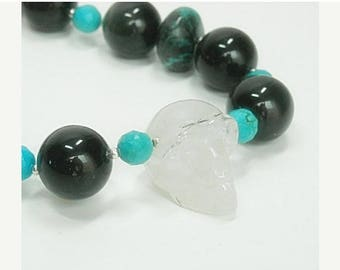 Sale| Skull Necklace, Real Genuine Turquoise, Ribbon Boulder Turquoise, Tourmalinated Crystal Quartz Skull Jewelry, Rainbow Obsidian, Goth