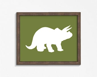 Green Triceratops Dinosaur Print, Olive Green Horizontal Wall Art, Nursery Art, Instant Download, DIY, Printable
