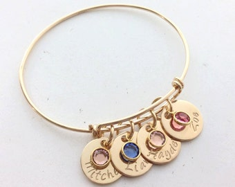 Gold Bangle with Engraved Hand stamped Personalised Gold Name Discs