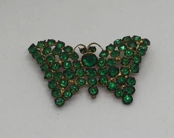 Green vintage butterfly pin