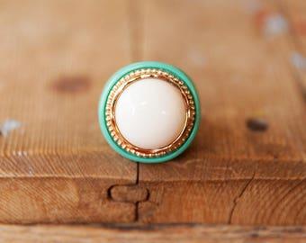 Turquoise ring, White stone ring, White & turquoise ring, Big ring, Large ring, Round ring, Big turquoise ring, Large turquoise ring