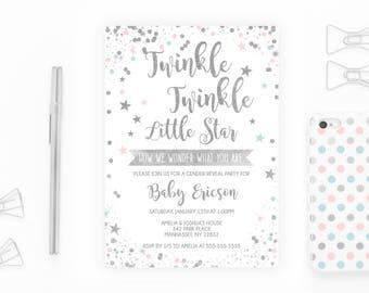 Gender Reveal Invitation, Gender Reveal Party, Gender Reveal Invitation Twinkle Twinkle Little Star, Twinkle Twinkle Little Star [703]