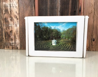 Wooden Keepsake Box with 5x7 Picture Frame Lid with Vintage White Finish - Handmade Wooden Box Picture Frame - IN STOCK - Same Day Shipping