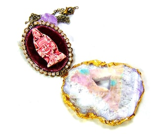 Handmade Mayan pendant with agate geode