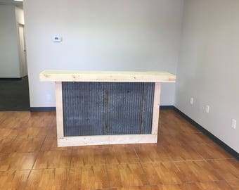 The Hello Rusty - 6' rusty corrugated metal rustic sales counter, reception desk, bar