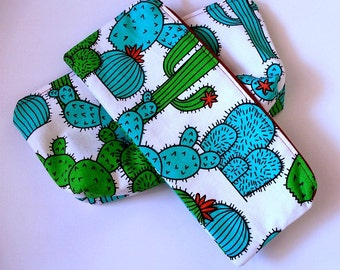 Cactus Zipper Pouch, Pencil Pouch, Pencil Pouch, Cosmetic pouch, Green, organize, small bag, College, Kids, School Supplies, Teens, Women