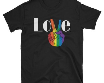 LOVE Peace Sign Gay Pride T Shirt Love is Love Tee T-Shirt