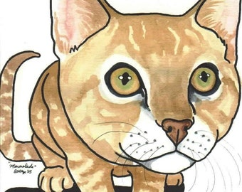 Cat Art 8x10 BIG HEAD CAT Orange Marmelade