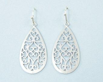 Silver Filigree Earrings, Silver Teardrop Earrings, Ornate Matte Silver Drop Earrings  EB1-21
