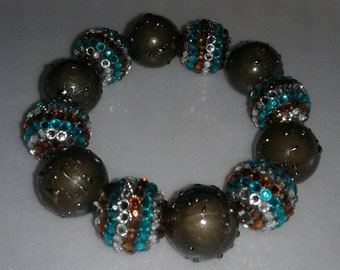 Turquoise and brown chunky bead bracelet