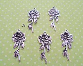 Antique Silver Long Stemmed Rose Pendant, Pack of 5 (2191)