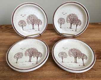 Vintage Churchill China Stoneware England Homespun Stonecast Trees Bread Butter Side Plates
