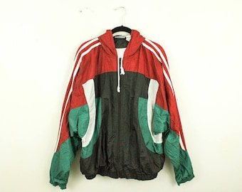 Vintage 1980s 1990s MacGregor Windbreaker Jacket / Green Red Black White Color Blocking / Stripes / Zip Front / Large / Hip Hop / Adidas /