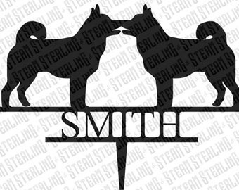 Wedding Cake Topper Personalized Husky Kissing Dog Breed Bride and Groom Silhouette Laser Cut LGBT Gay Lesbian Friendly