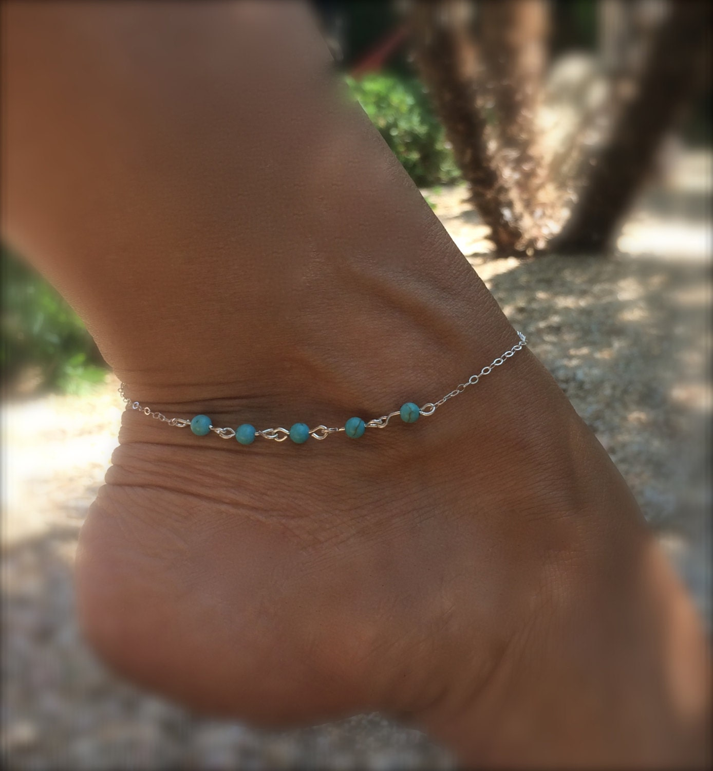 custom fullxfull anklet bracelet copper holiday stackable gift stretch bracelets inspired boho listing il beach ankle beaded