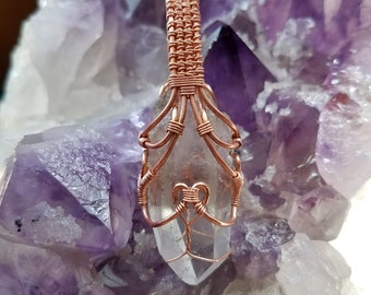 The Mystic Pendant -- Raw Clear Quartz crystal stone wrapped in solid copper wire -- boho, hippie, indie, fantasy gift