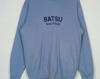 Rare!! BATSU BOUTIQUE sweatshirt spell out embroidery nice design pull over jumper crew neck large size