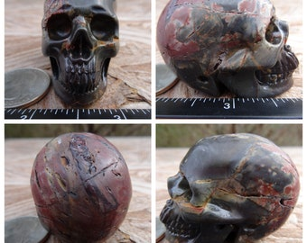 "2.06"" 3.3oz 93.0g Cherry Creek Jasper Skull Realistic Crystal Healing Hand Carved Handmade Magick Metaphysical Reiki Wicca Brown SK2732"